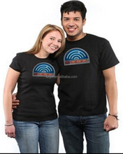 China family couple led t-shirt new design custom sound activated el equalizer t-shirt