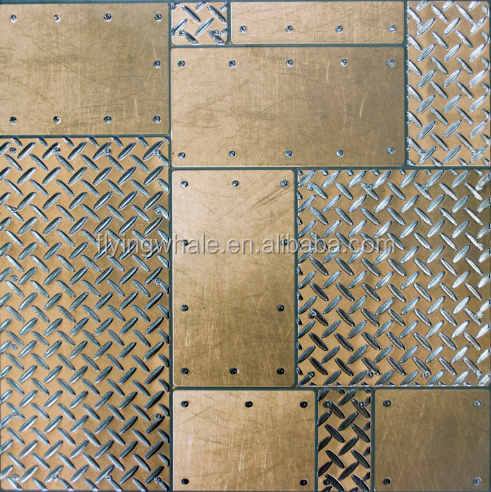 gold metal steel plate mould embossed rustic ceramic tile real certified products