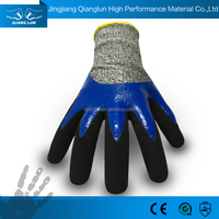 High performance anti cut double dip 3/4 nitrile coated protective gloves cutting glass;