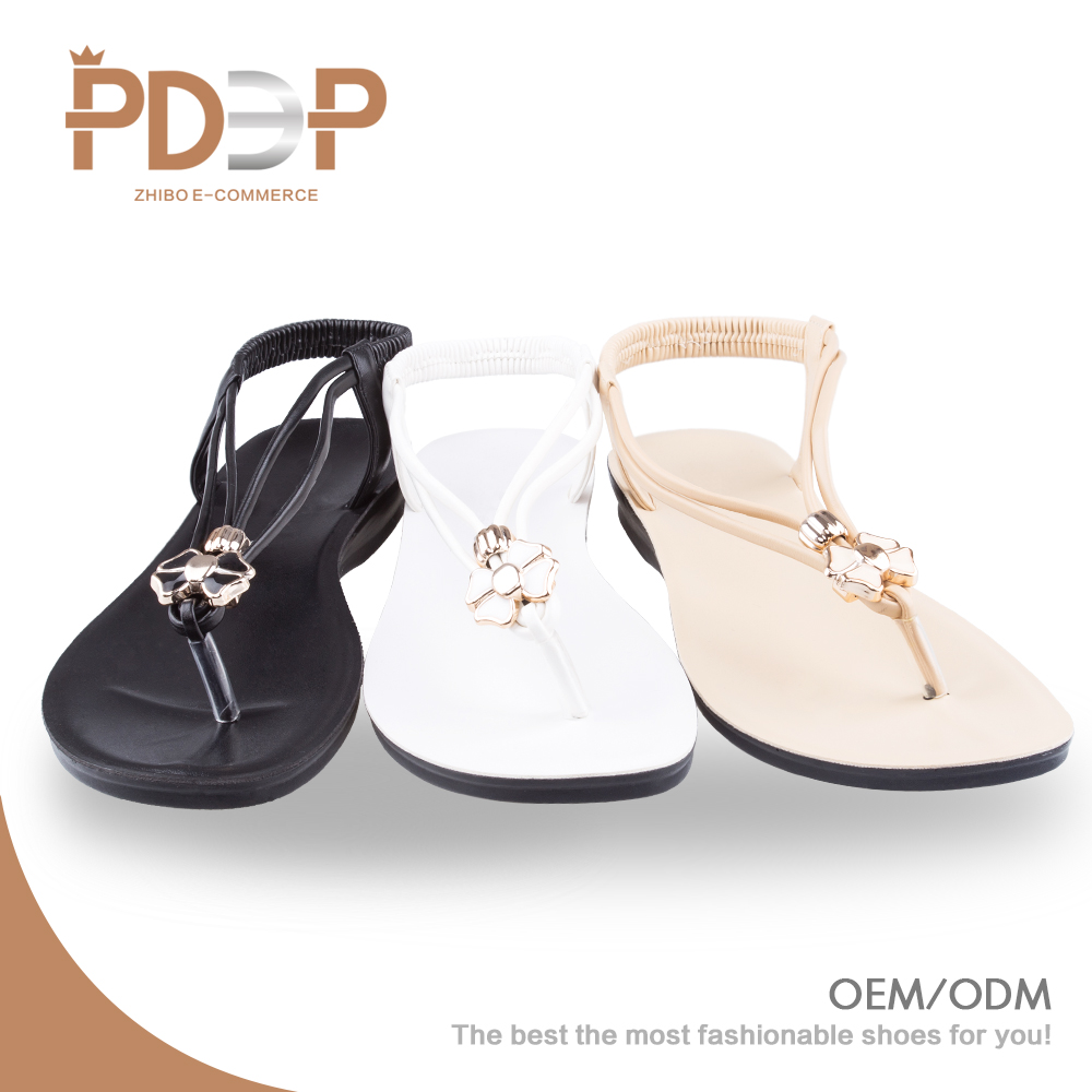 China low price cheap wholesale latest new design pu flat simple girls lady <strong>sandal</strong>