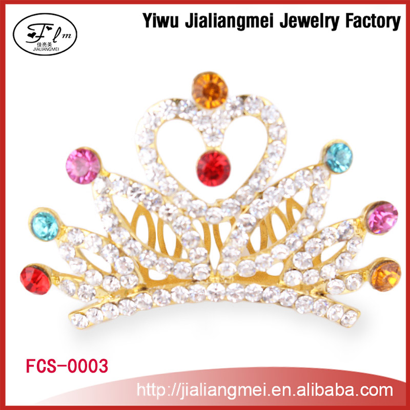 Gold Crown With Colorful Diamond Alloy Crystal rhinestone Tiaras Crown for Women