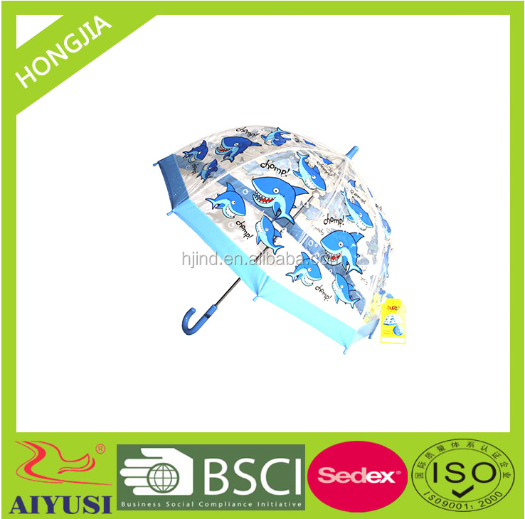 popular design transparent lovely dolphin printed kids umbrella