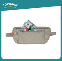 Toprank BSCI Factory High Quality Wholesale Polyester Anti-theft Zipper Waist Bag RFID Blocking Travel Waist Wallet For Man