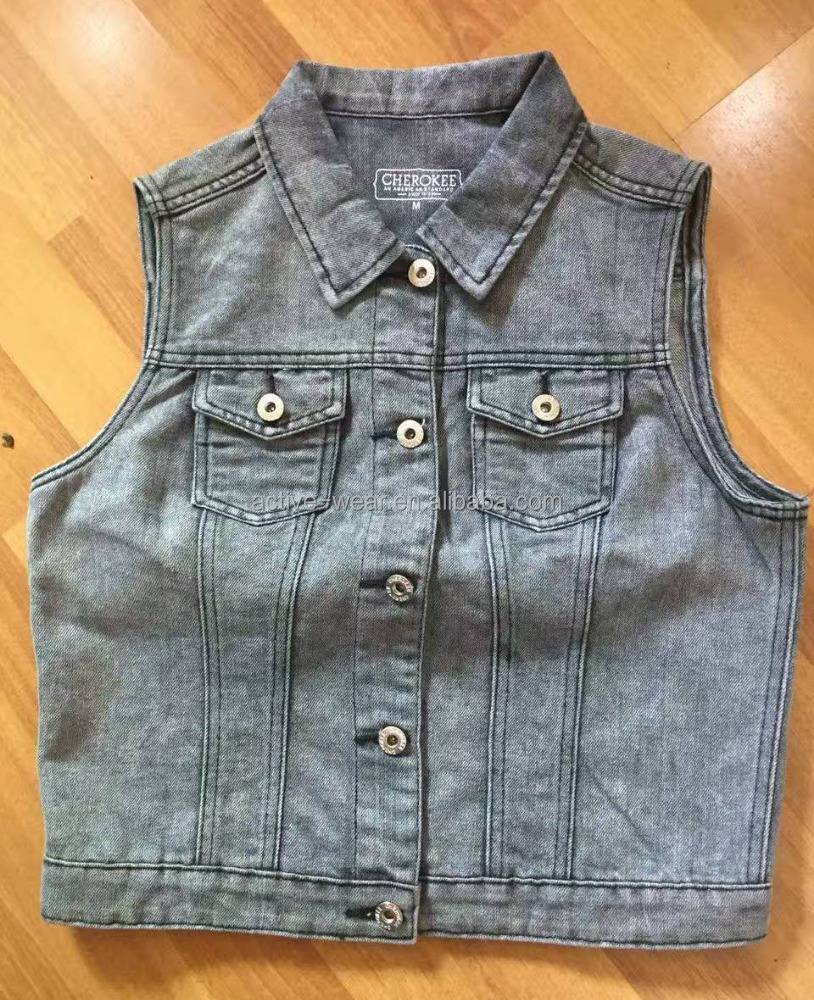 2017 closeouts clothing cheap stylish hot black denim vest women