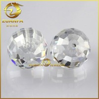 China faceted cubic zirconia beads with hole, clear faceted crystal ball beads in bulk