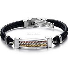 Custom logo mens hadmade braided leather bracelets with stainless steel clasp