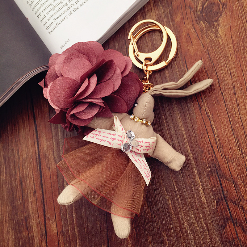 Rose Cartoon Ladies Pendant / Little Bunny Key Chain