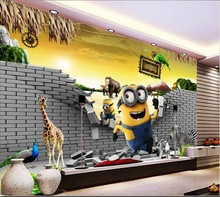 New design removable cartoon minions wallpaper for children bed room decor wall murals