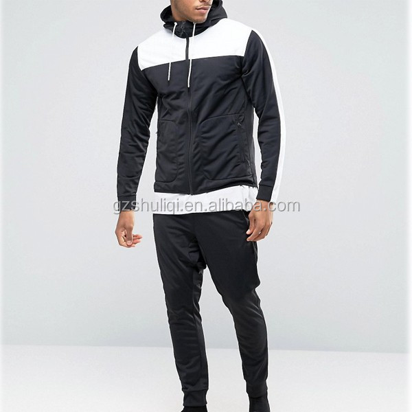 Black men cotton plain tracksuits fitted cuffs hoody elasticated waistband pants tracksuit sets