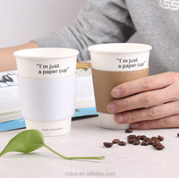 Best quality custom logo coffee cup with lid and sleeve