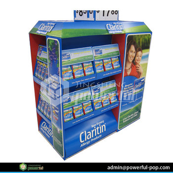 advertising drug store medicine POS cardboard half pallet display stand