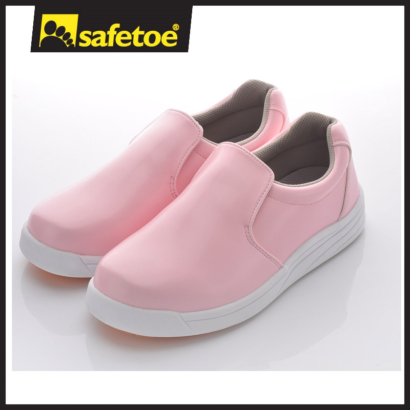 pink color safety shoes with high heel shoes
