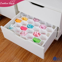 Factory price high quality clothing closet storage bags drawer storage pp plastic underwear sock closet organizer with grids