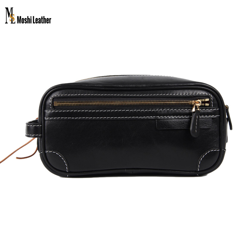 Handmade Black Italian Full Grain Vegetable Tanned Leather Pouch Bag Clutch Bag Comestic Bag PB01