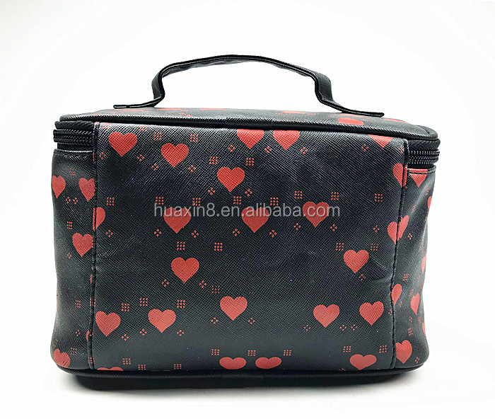 Fashion red heart print PU makeup bag for travel