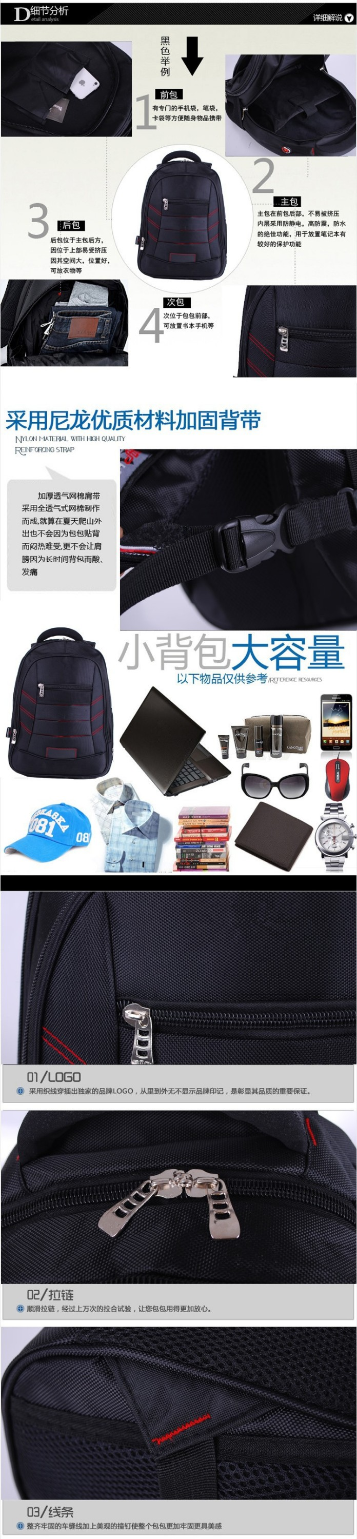 Newest Fashional China Factory High Quality Cheap Price Waterproof Nylon Laptop Backpack Bag