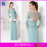 ST888 Gorgeous Fresh Mint Colored Lace Sequined 3/4 Sleeve Bodice Keyhole Back Satin Bottom Evening Dresses Made In China
