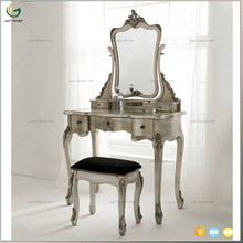 French Vintage Carved Style Industrial Iron Dressing Table Design