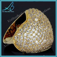 Best selling products gold palted mirco pave synthetic cz diamon ring