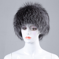 2017 Wholesale New Fashion knitted silver fox fur hat russian style fur hat