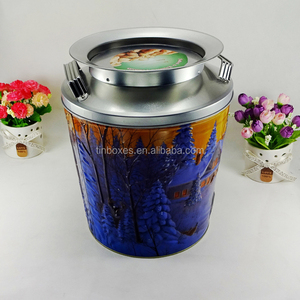 Empty large metal packaging box round storage tins for cat food