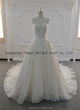 Long train with glass beading round neck lace wedding gown