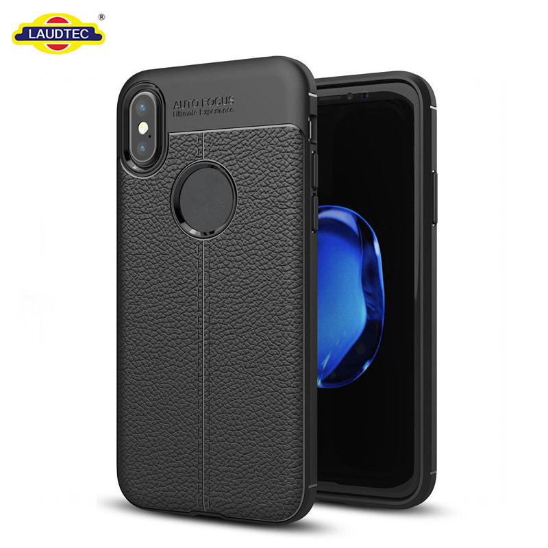 Thin Design Skin Cover Litchi Pattern Silicone Case for iPhone X