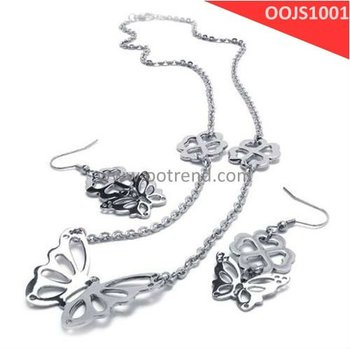 Butterfly Jewelry Set,stainless steel 316L earring and necklace