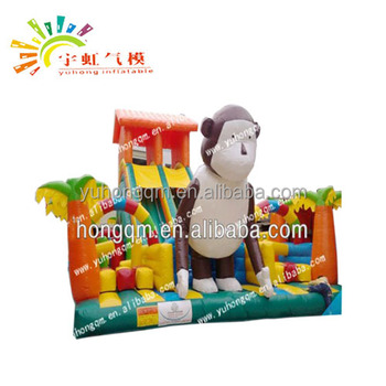Customized Monkey Theme Inflatable Fun City With Inflatable Games/Inflatable Slides /Slide And Jumping Castle For Kids Party Use