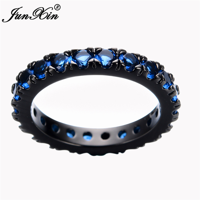 Size 6/7/8/9/10 Women Fashion Jewelry Rings Blue Sapphire Finger Ring 10KT Black Gold Filled Promotion RB0056
