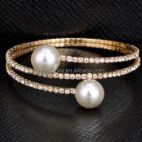 Silver Bracelets Women Accessories Double Pearl