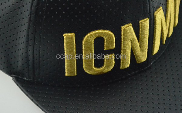 2015 New Product Black Leather Snap Back Hat