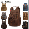 Travel Canvas Leather Backpack Sport Rucksack