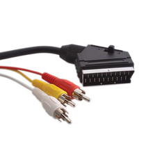 1.5M 21 Pin Scart to 3 RCA Plugs Phono Lead Cable Audio Video Connector TV DVD