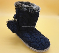 New style classy flat indoor knit boots crochet velour pompon shoes