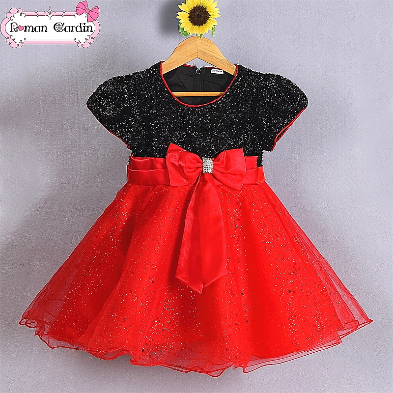 Baby girl black white red wedding dresses 3-8Y red black flower girl dresses kids party dresses wholesale