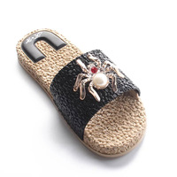 2019 New design slippers Summer fashion flat slippers spider pattern Korean version of women's fashion slippers