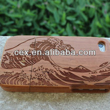 For iPhone 4 4s Cherry-Sea Wave Wooden Hard Bamboo Case