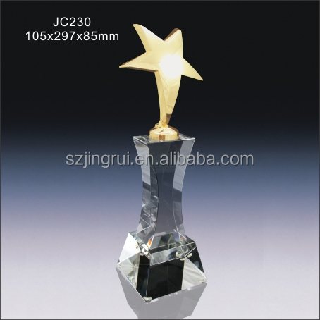 Blank clear crystal gold mater star trophy award JC230