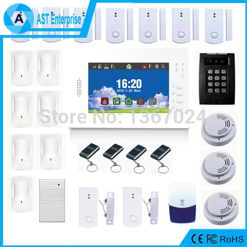 DIY 868MHZ Wireless GSM Alarm Big Kit 7 inch screen Lithuim Burglar Alarm Czech, Finnish, Dutch Italian, German available