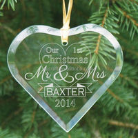 Engraved First Christmas as Mr and Mrs Glass Heart Ornament personalized ornament Christmas Tree Ornament