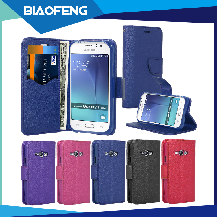 New classical design factory price flip wallet style pu leather back cover phone case for samsung galaxy j1 ace