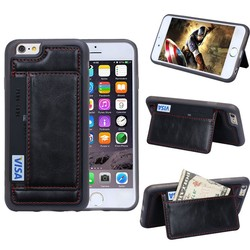 Leather Back Mobile Phone Stand Case With Card Holder for Apple iPhone 6 4.7""