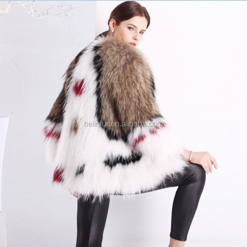 2015Fashion Mult Color Luxury Knitted Raccoon Fur Coat for women