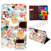 Wallet Style Design Flowers Cloth Design PU Leather Case for Samsung Galaxy tab 4 7 inch 8inch 10.1inch