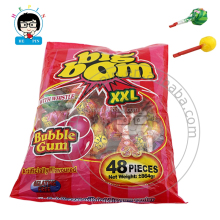 Big Bom Lollipop With Bubble Gum Inside Fruity Flavour Hard Candy Lollipop