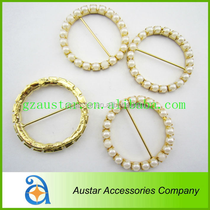 Wholesale 50mm pearl gold spandex chair sash with buckle,wedding chair brooch sash rhinestone ribbon buckle