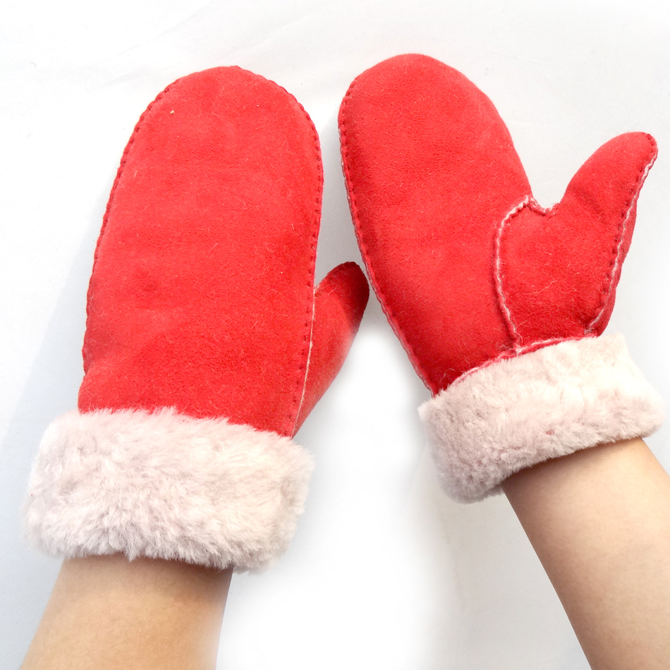 New Fashion Wholesale Hand Sewing Spanish Merino Shearling Sheep Skin Mitten Double Face Lamb fur Leather Winter Gloves