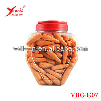 High Quality Carrot Shaped Best Bubble Gum In Small Heart Shaped Jar VBG-G07