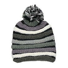 Skiing Hat Winter Knit Beanie Pom Pom Hat with Colourful Stripes